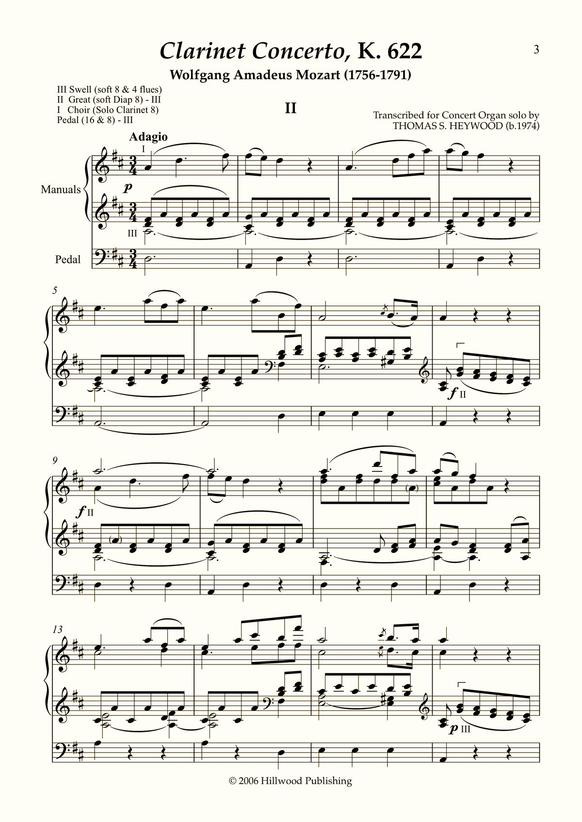 Mozart/Heywood - Adagio from the Clarinet Concerto, K. 622 (Score)
