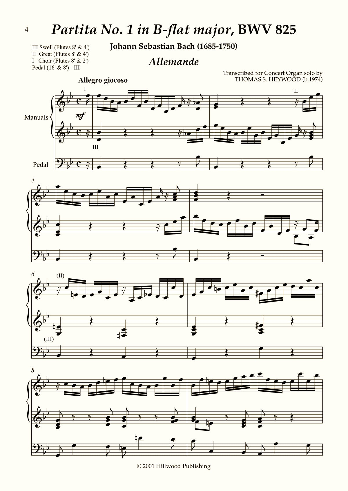 Bach/Heywood - Allemande from Partita No. 1 in B-flat major, BWV 825 (Score) | Thomas Heywood | Concert Organ International