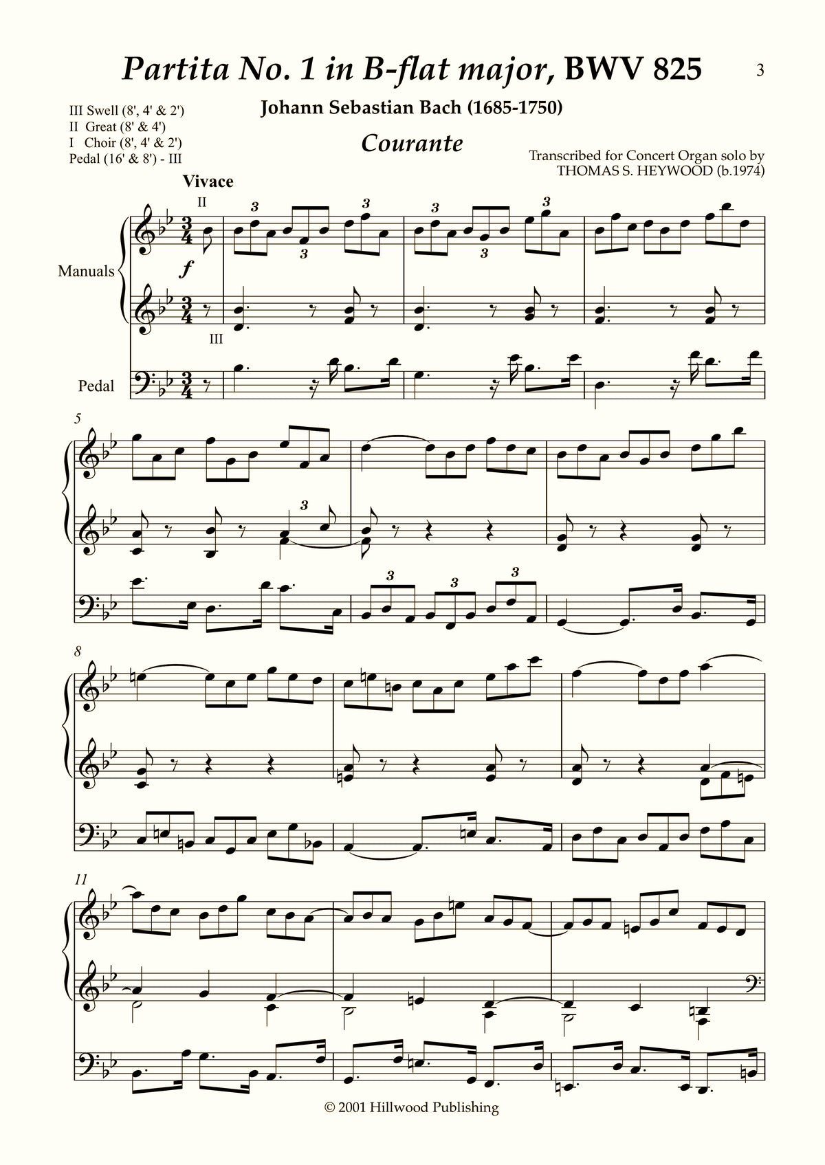 Bach/Heywood - Courante from Partita No. 1 in B-flat major, BWV 825 (Score) | Thomas Heywood | Concert Organ International