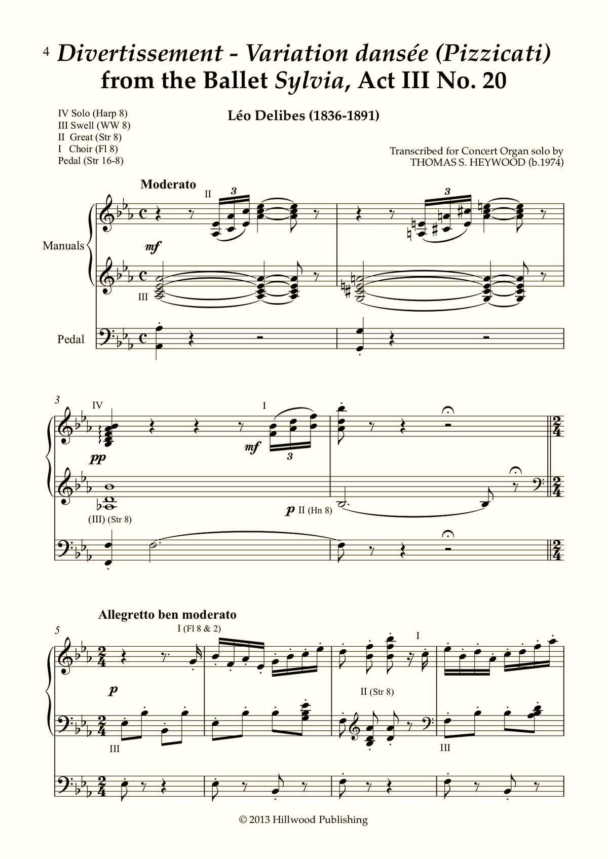 Delibes/Heywood - Divertissement - Variation dansée (Pizzicati) from the Ballet Sylvia, Act III No. 20 (Score) | Thomas Heywood | Concert Organ International