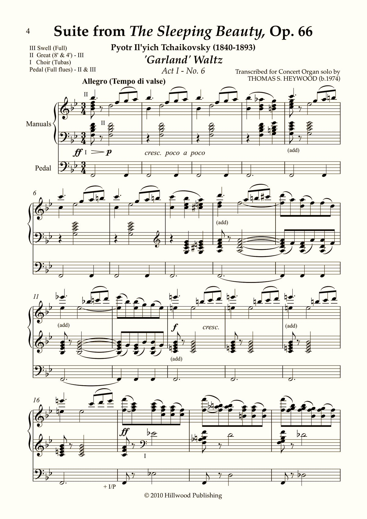 Tchaikovsky/Heywood - 'Garland' Waltz from Suite from The Sleeping Beauty, Op. 66 (Score) | Thomas Heywood | Concert Organ International