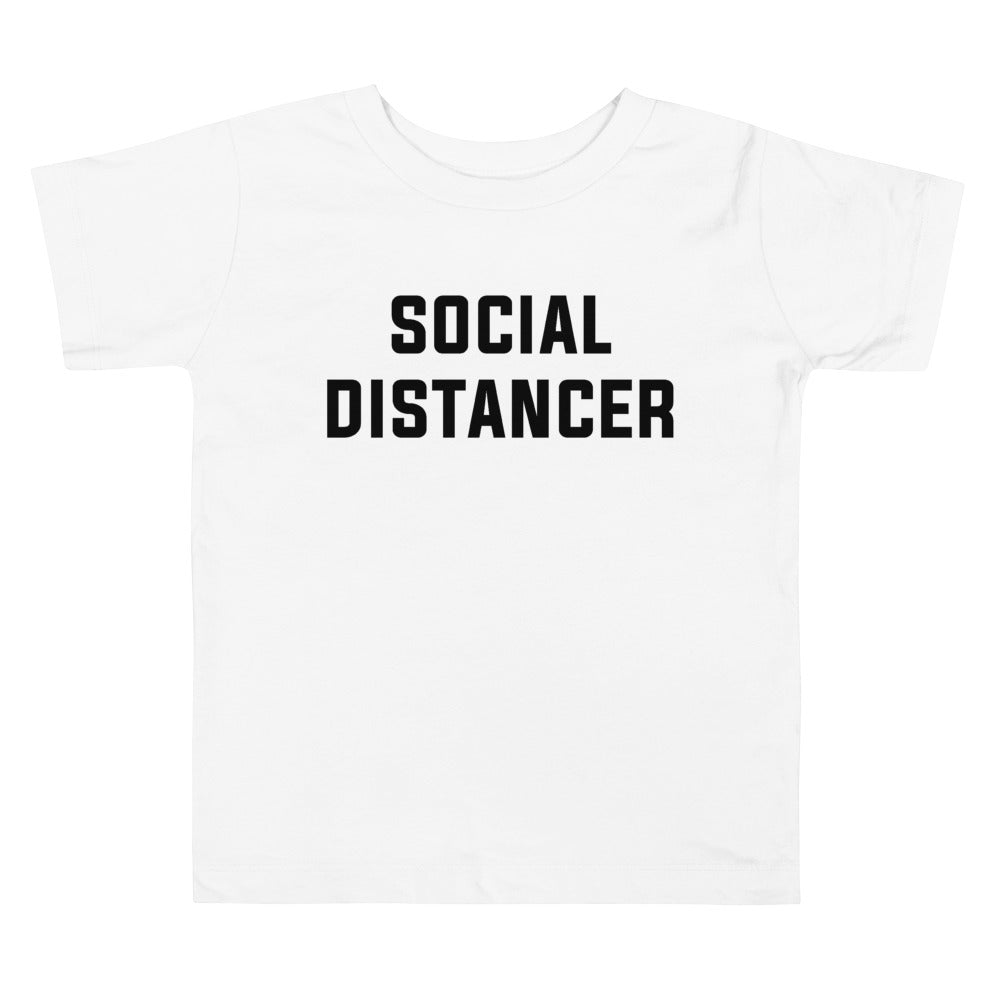 Social Distancer Toddler Short Sleeve White T-Shirt