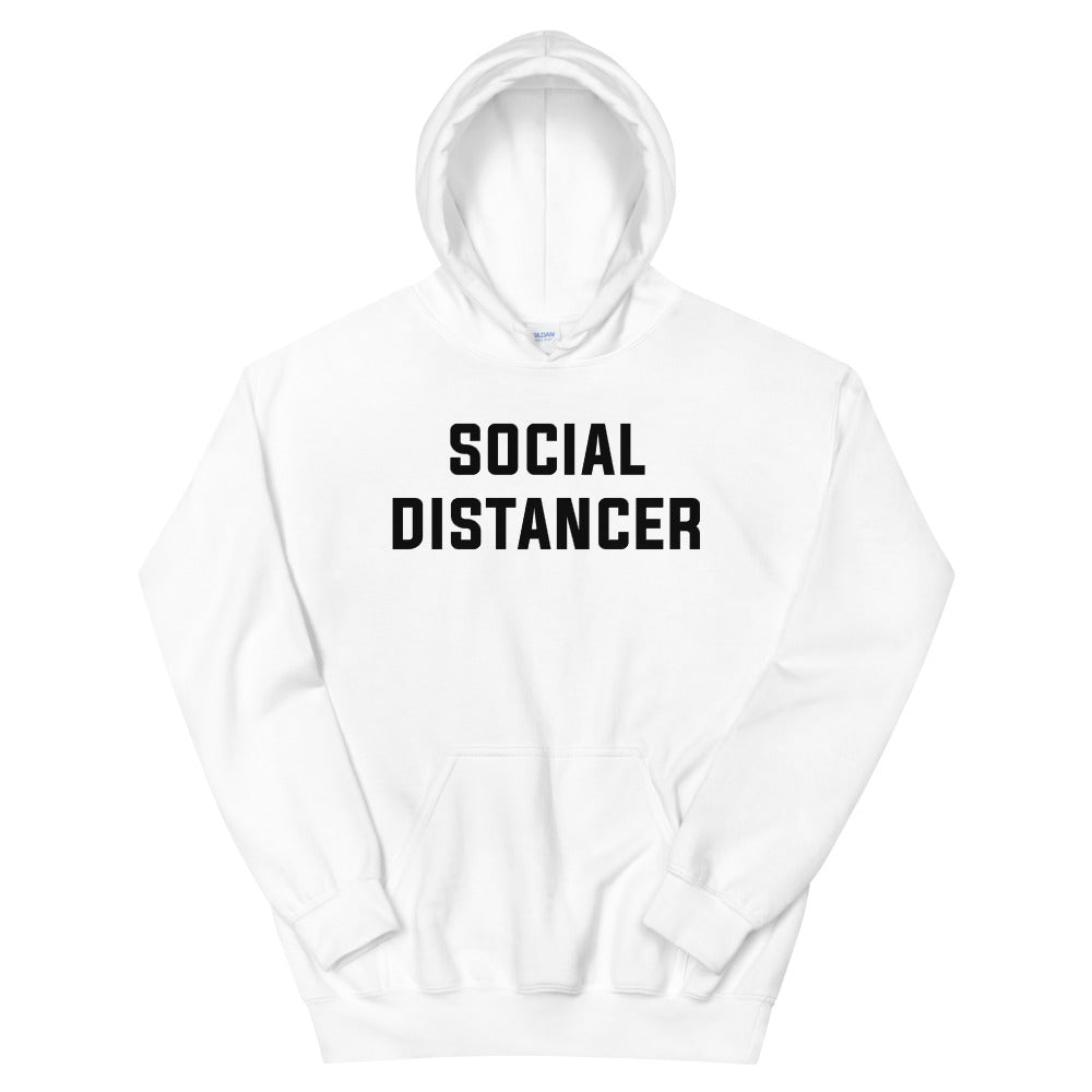 Social Distancer Unisex White Hoodie