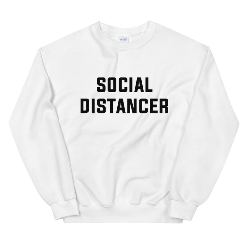 Social Distancer Unisex White Sweatshirt