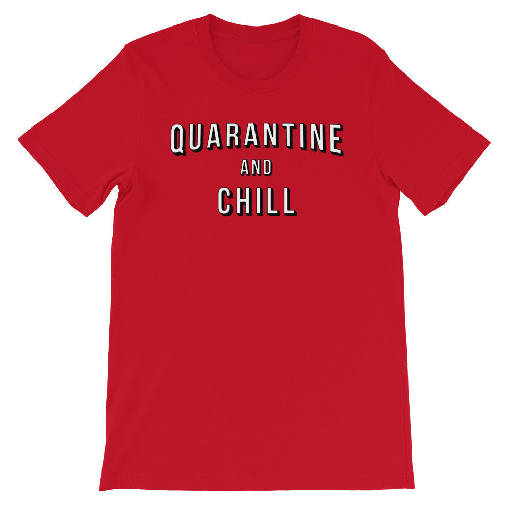 Quarantine & Chill Short-Sleeve Unisex Red T-Shirt