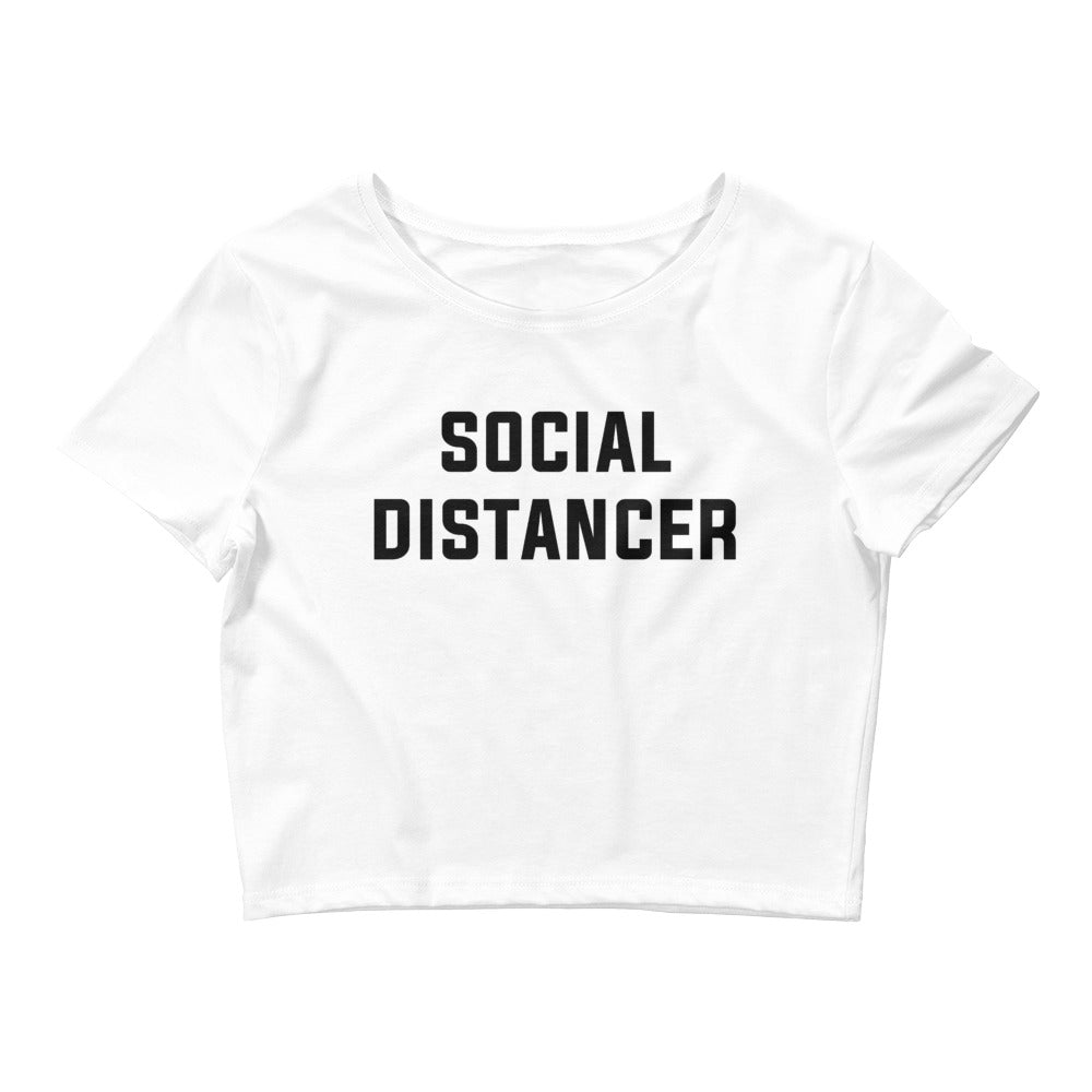 Social Distancer Women's Cropped White T-Shirt