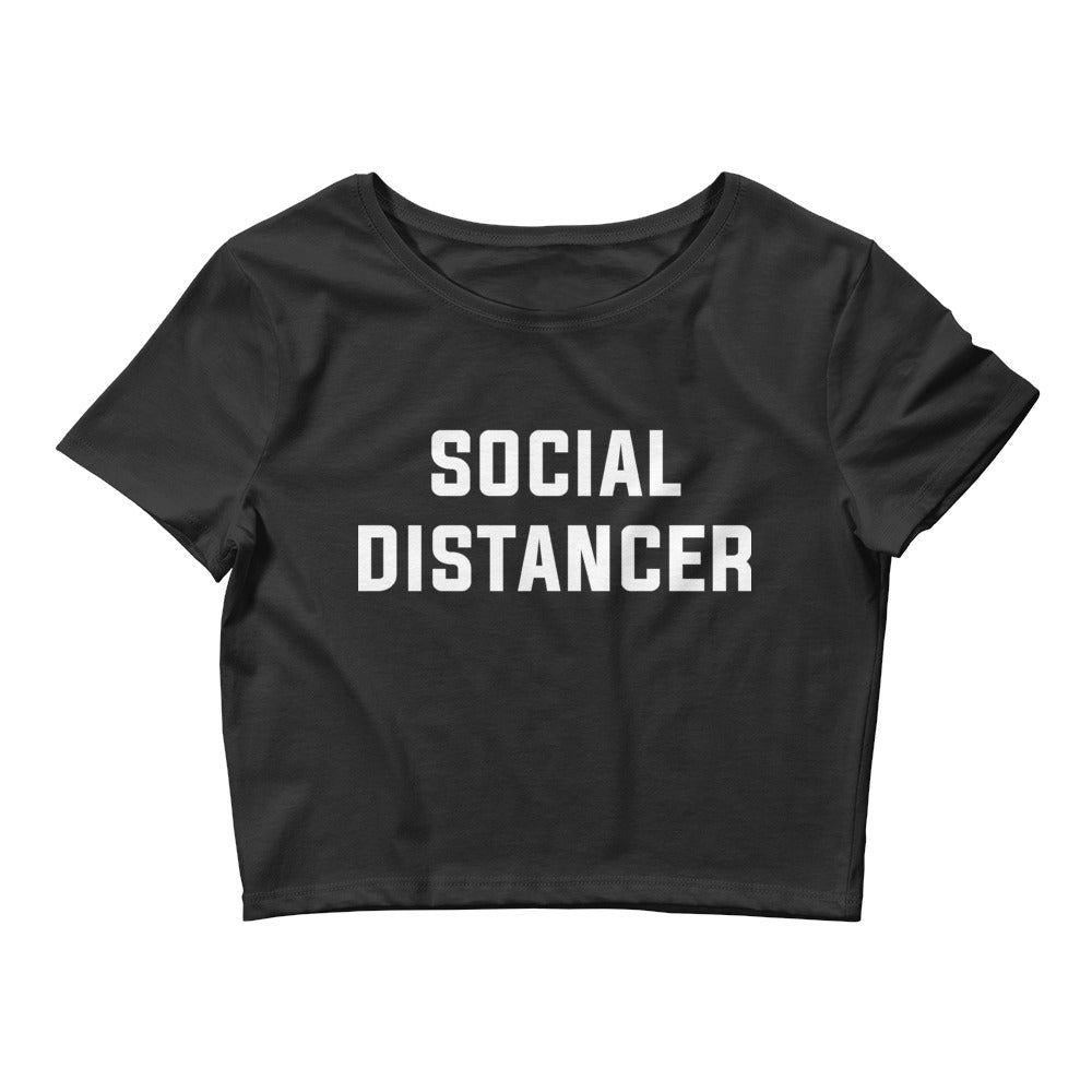 Social Distancer Women's Cropped Black T-Shirt