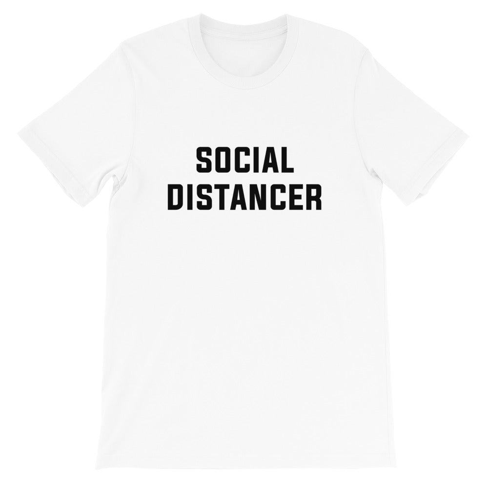 Social Distancer Short-Sleeve Unisex White T-Shirt