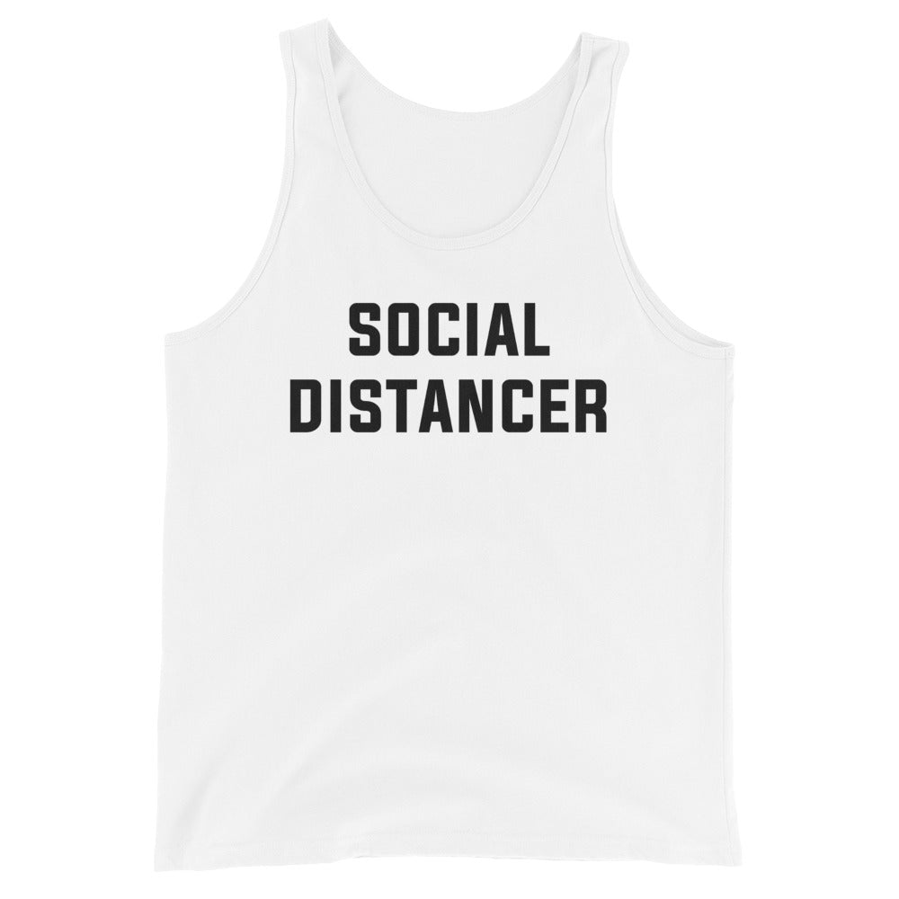 Social Distancer Unisex White Tank Top