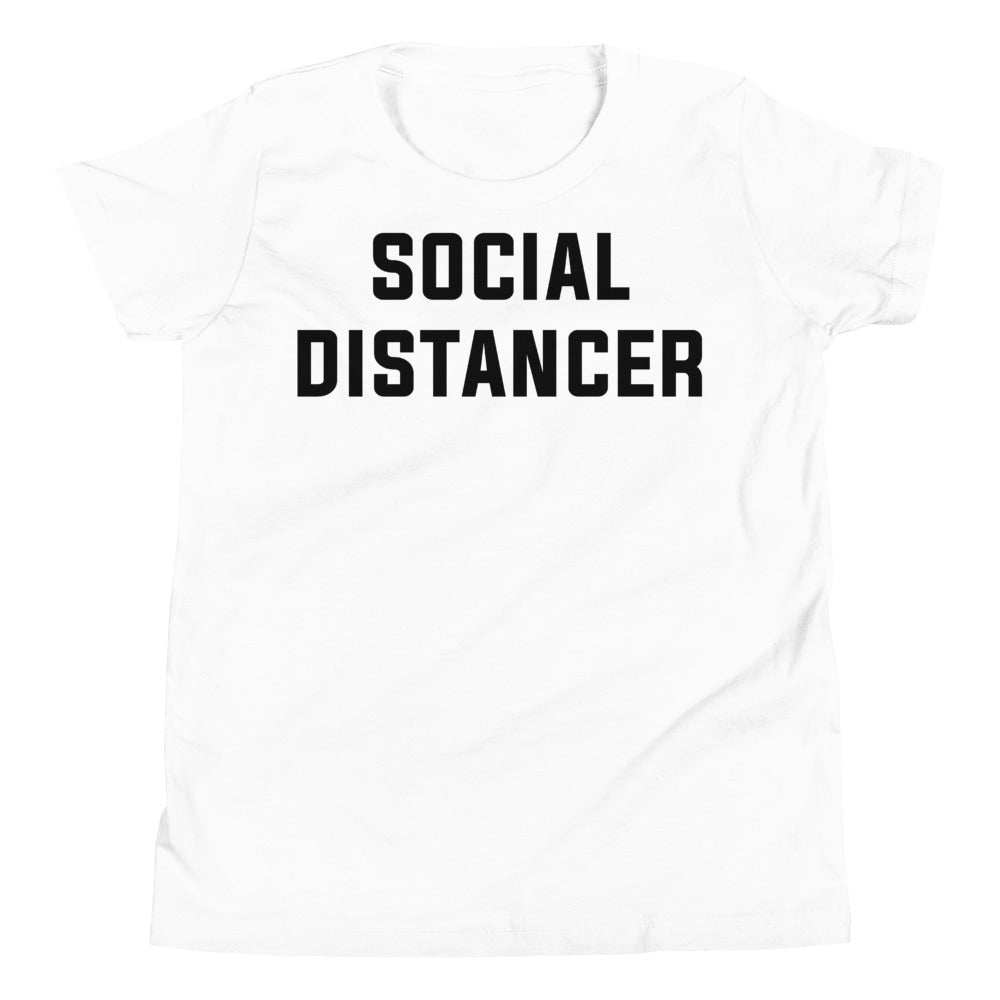 Social Distancer Youth Short Sleeve White T-Shirt