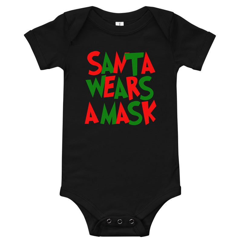 Santa Wears a Mask Black Onesie