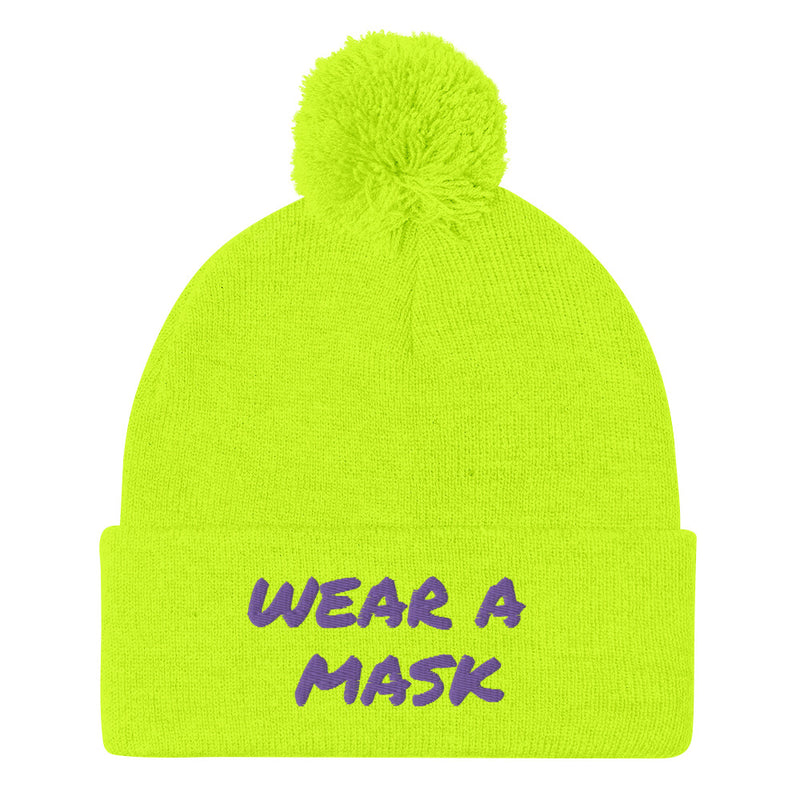 Wear a Mask Neon Green Pom-Pom Beanie