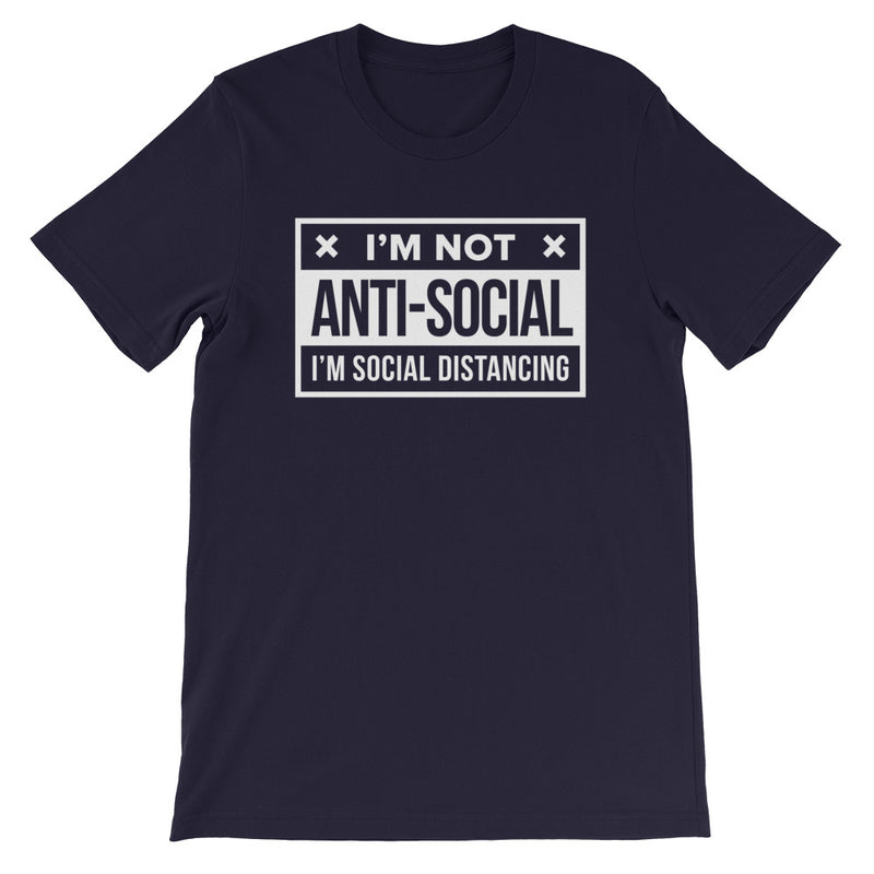 Social Distance Short-Sleeve Unisex Navy T-Shirt