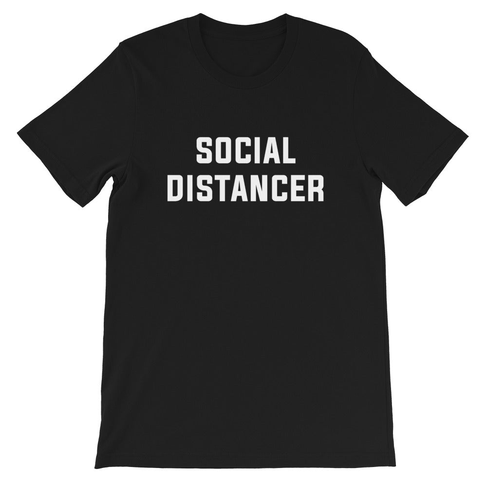 Social Distancer Short-Sleeve Unisex Black T-Shirt