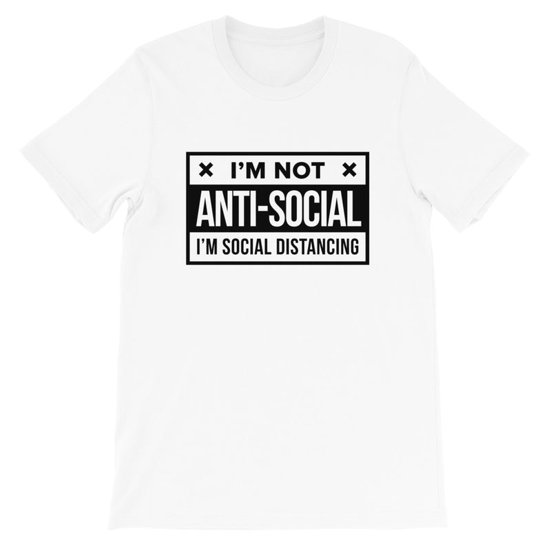 Social Distance Short-Sleeve Unisex White T-Shirt