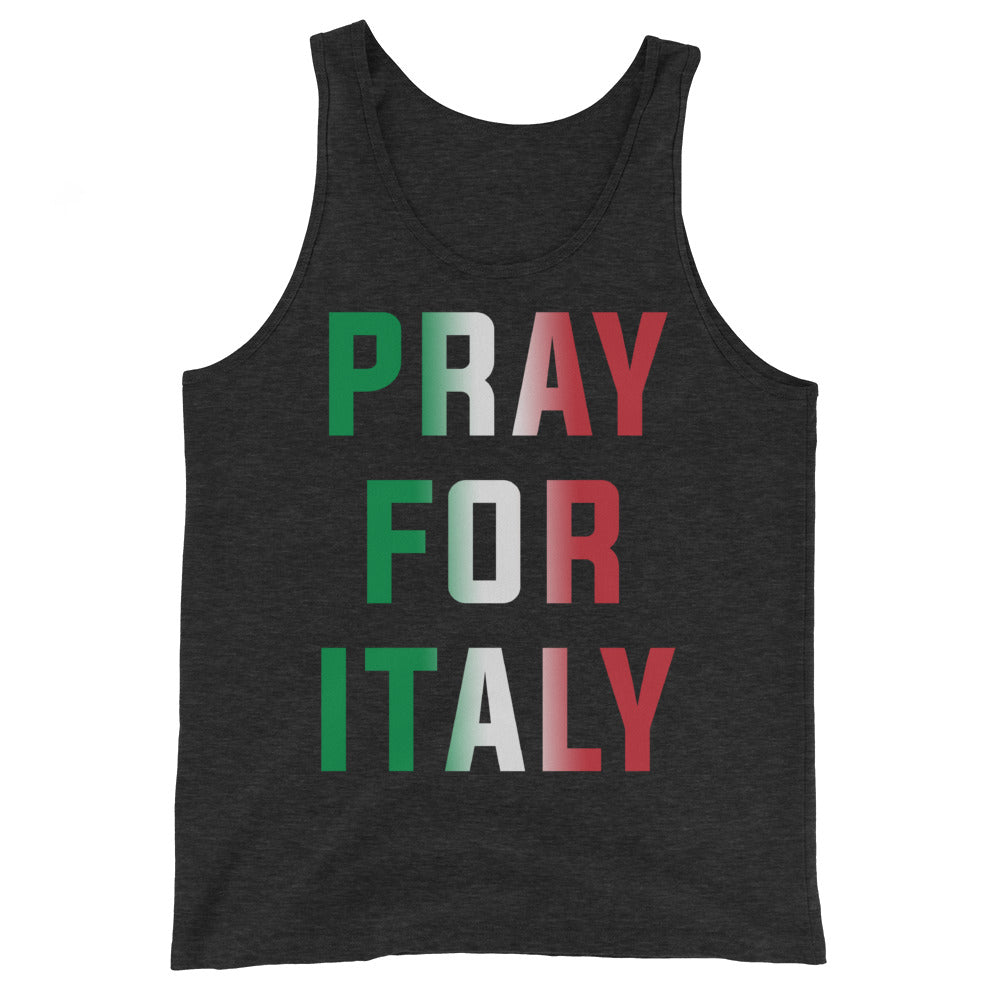 Pray for Italy Unisex Black Heather Tank Top