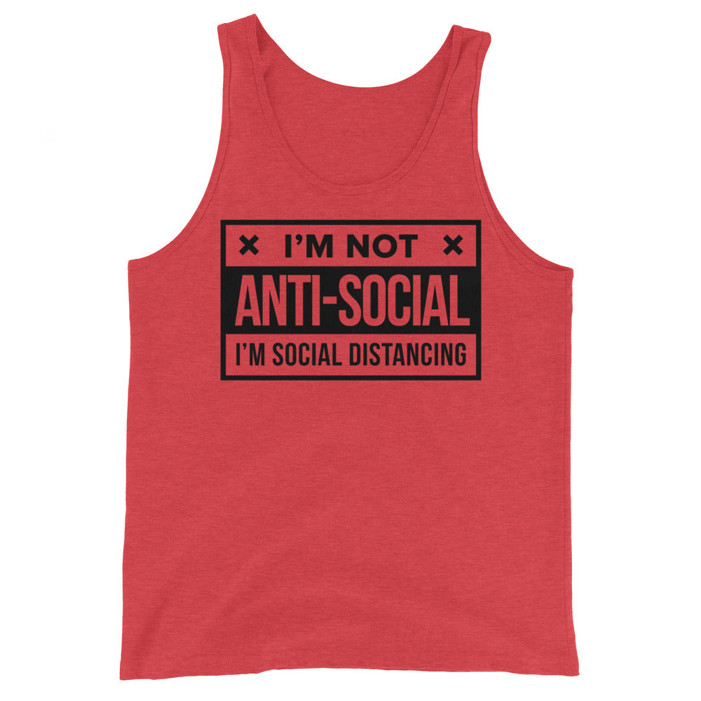 Social Distance Unisex Red Heather Tank Top