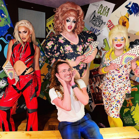 our social media manager @harryjbartlett with A'Whora, Ellie Diamond and Ginny Lemon from RuPaul's Drag Race UK Season 2