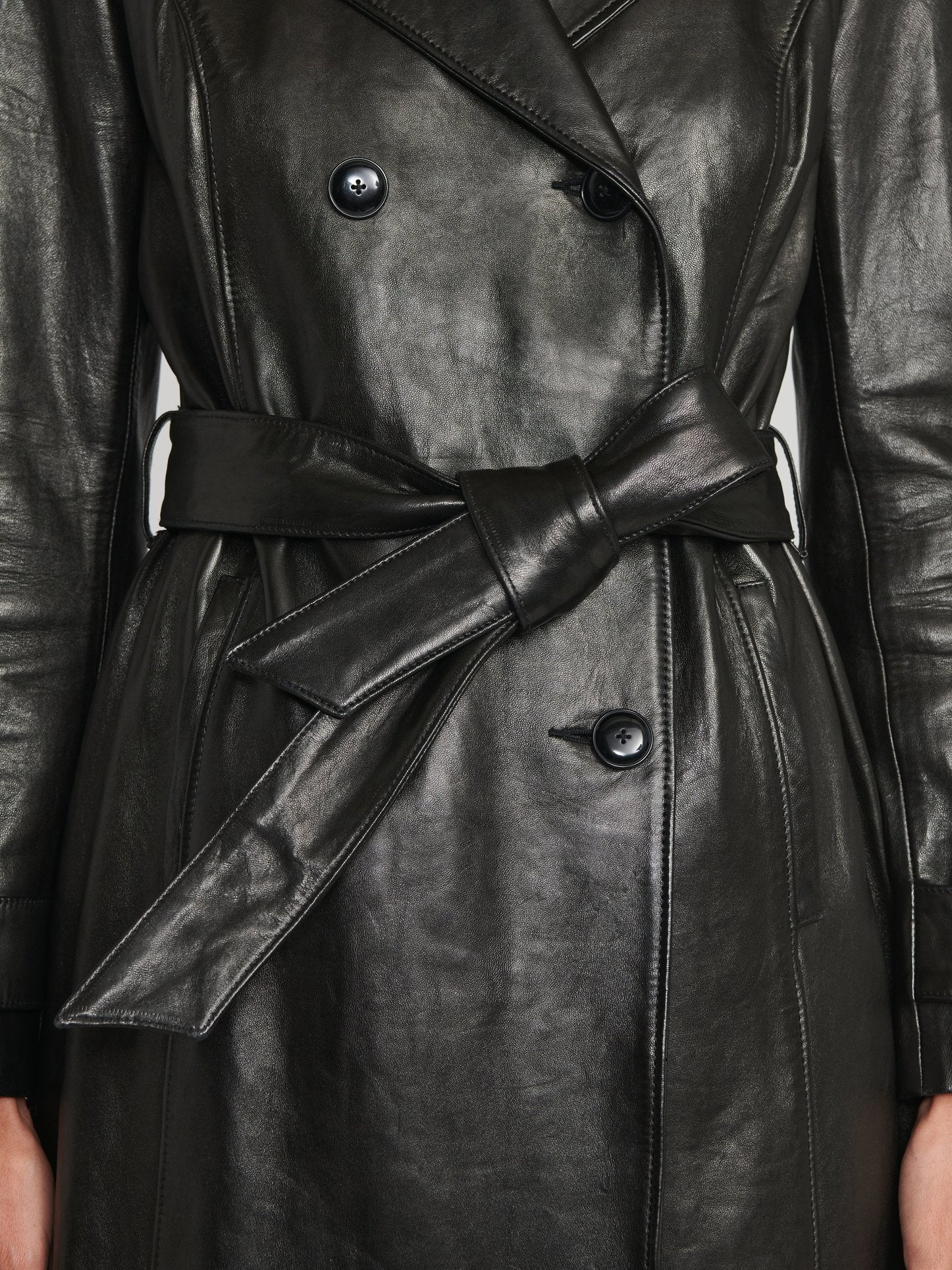 Designer genuine leather Handmade woman black leather coats women
