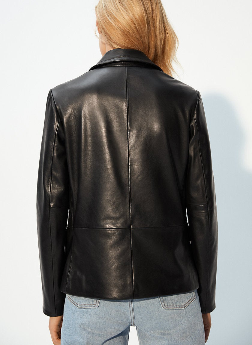 Designer genuine  leather  Handmade woman Black Blazer Leather jacket: Guaranteed delivery within 4 working  days after dispatch