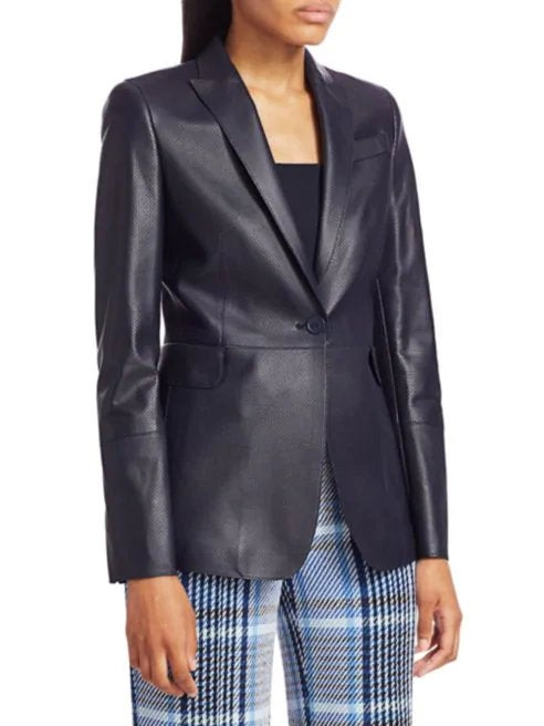 Designer genuine  leather  Handmade womans Classic Navy Blue Leather Blazer: Guaranteed delivery within 4 working  days after dispatch