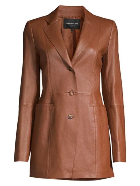 Designer genuine  leather  Handmade womans Classic Brown Leather Blazer: Guaranteed delivery within 4 working  days after dispatch