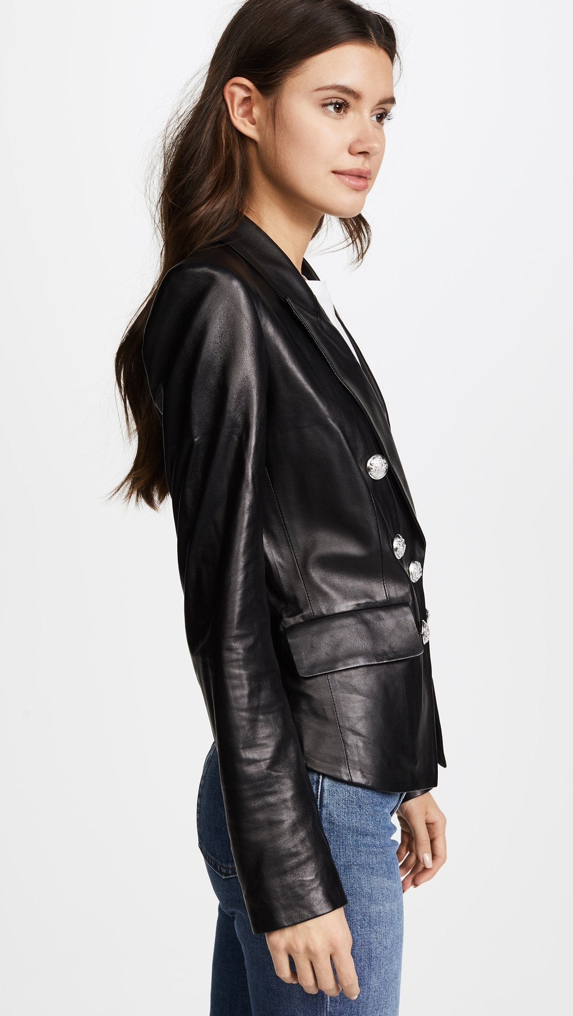 Designer genuine leather Handmade women Classic Black Leather Blazer: Guaranteed delivery within 4 working  days after dispatch
