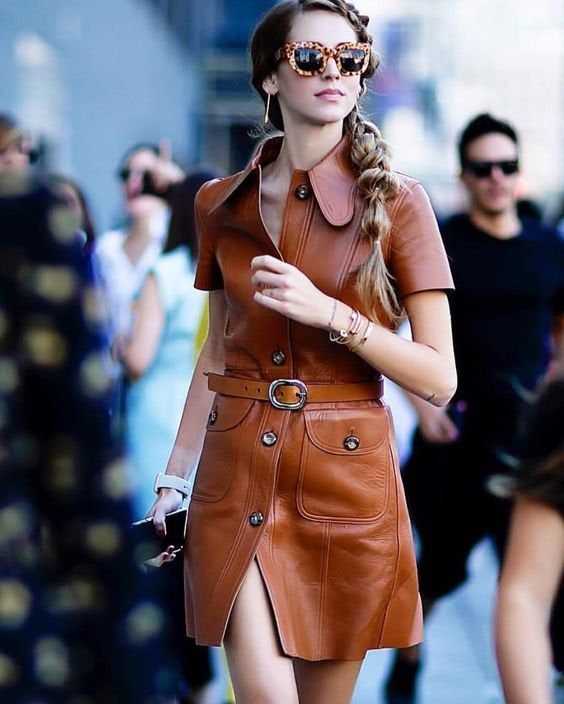 Designer genuine  leather  Handmade woman Leather dress: Guaranteed delivery within 4 working  days after dispatch
