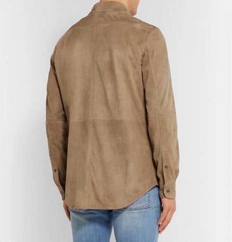 Designer genuine  leather  Handmade Man Beige Color Suede Leather shirt: Guaranteed delivery within 4 working  days after dispatch