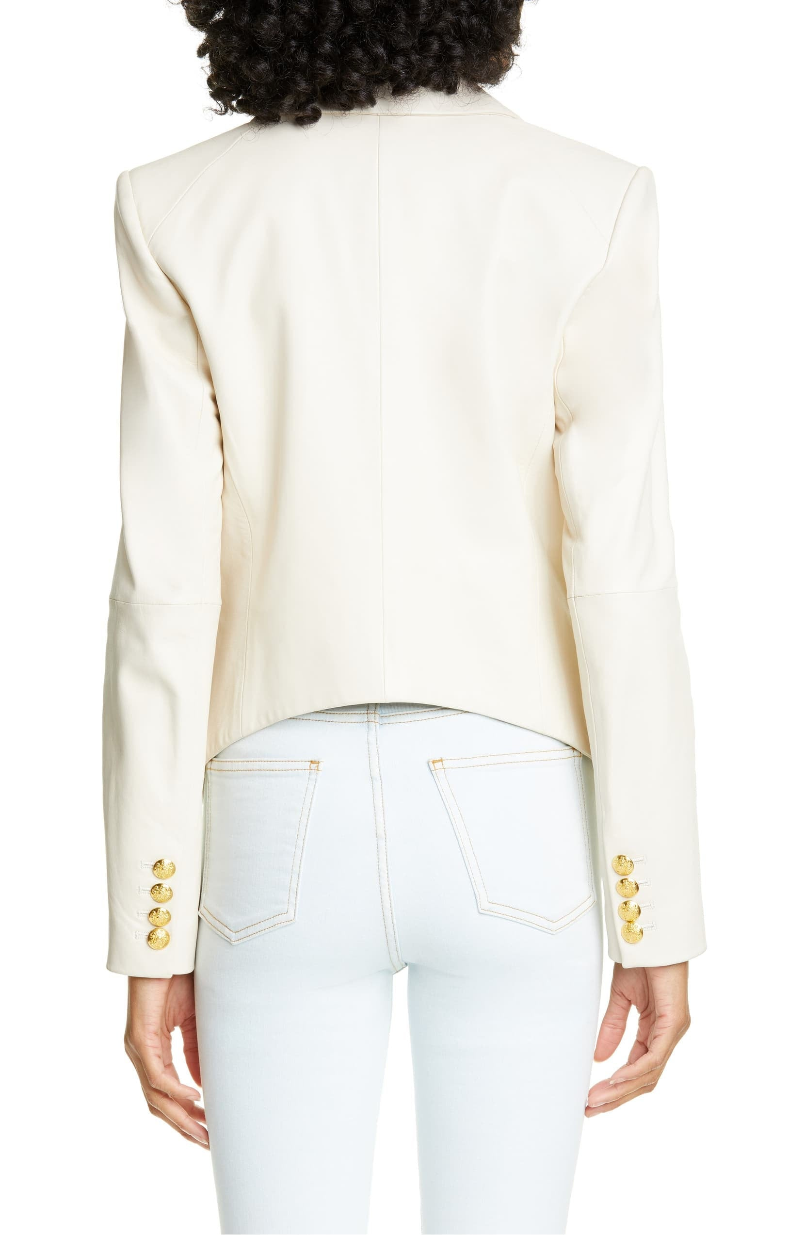 Designer genuine  leather Handmade womans Classic White Leather Blazer: Guaranteed delivery within 4 working  days after dispatch