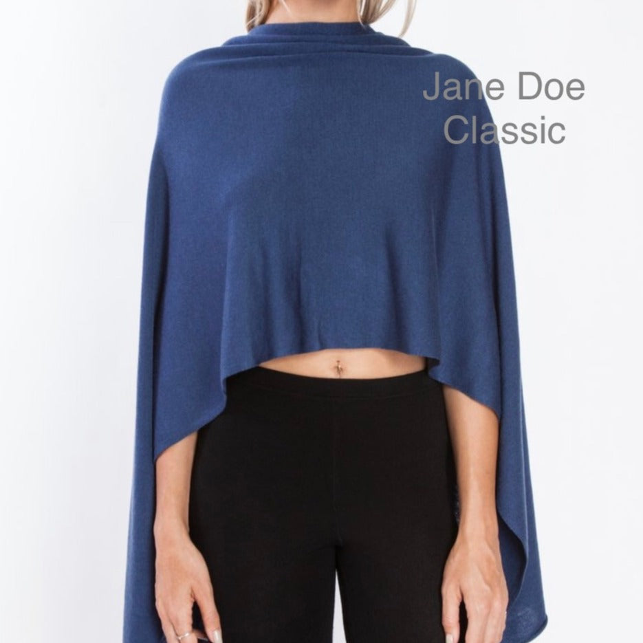 Jane Doe Classic Poncho in Jean Blue