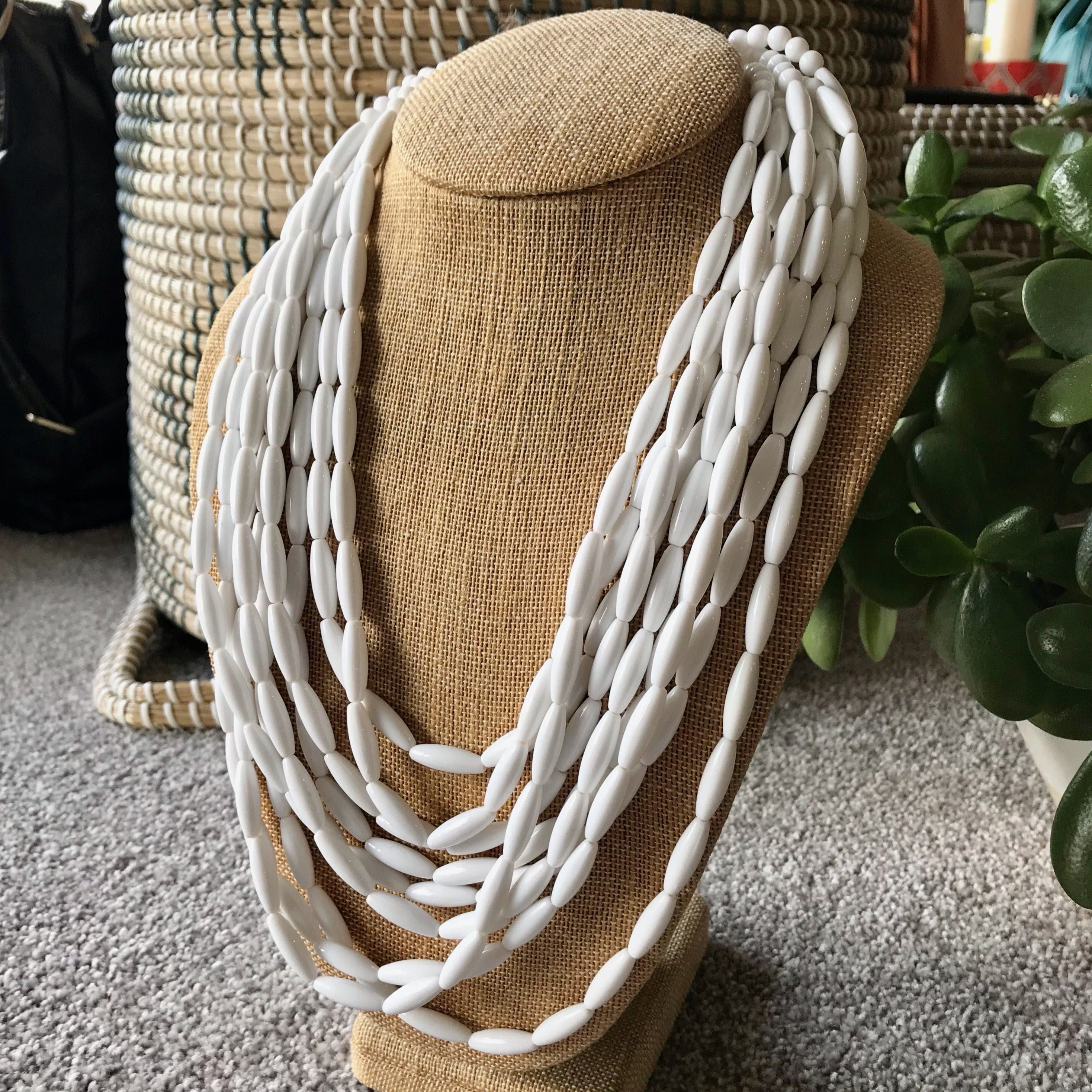 Rice Bead Necklace in Milk