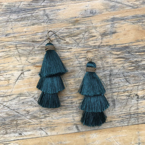 Festive Fringe Earring in Dark Teal