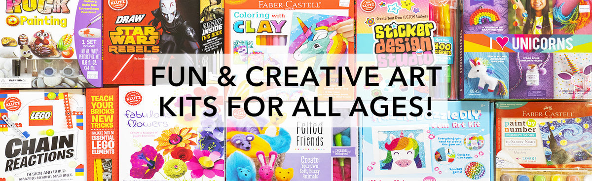 Banner for Nevada Fine Arts' wide variety of fun and creative art kits for kids of all ages