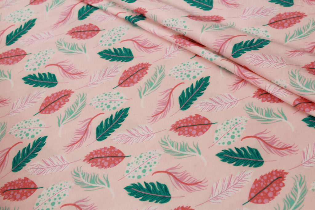 "Pink & Green Leaves, Brushed Jersey 60"" Wide"