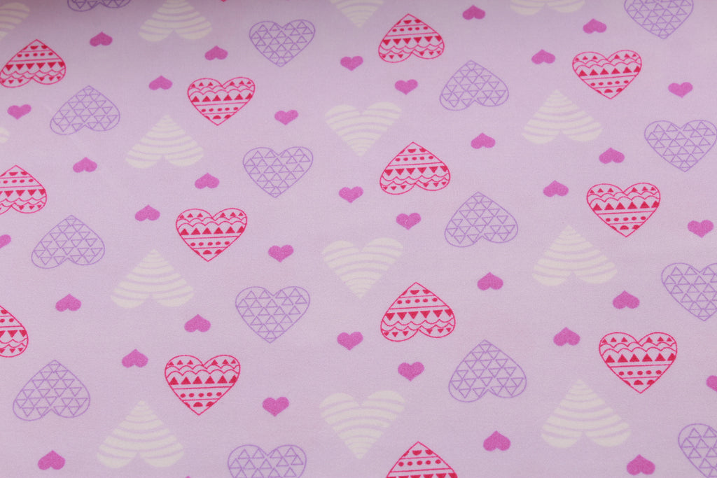 "Big & Small Hearts Print, Brushed Jersey 60"" Wide"