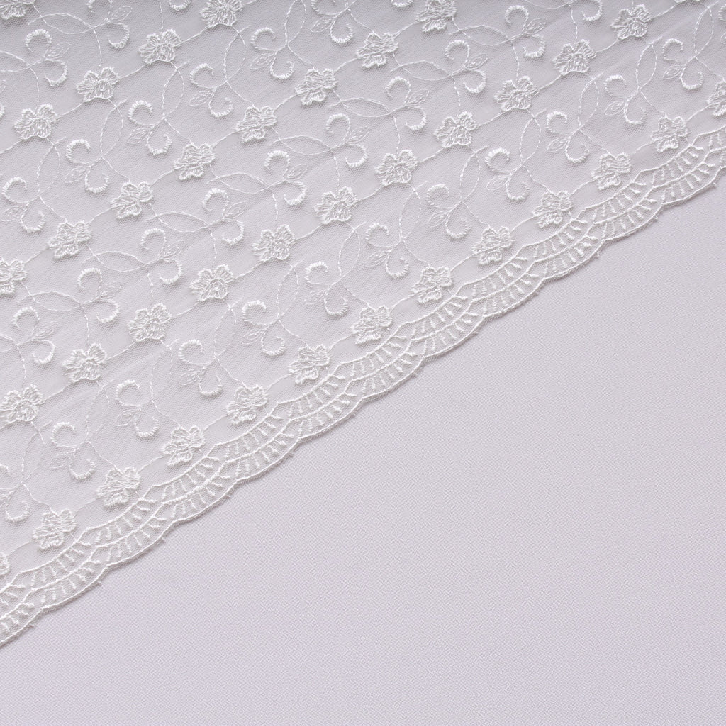 Large Daisy Embroidered Tulle Ivory