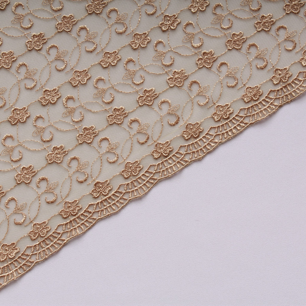 Large Daisy Embroidered Tulle Gold