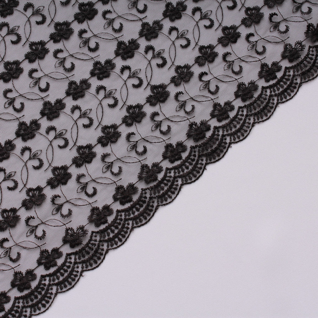 Large Daisy Embroidered Tulle Black