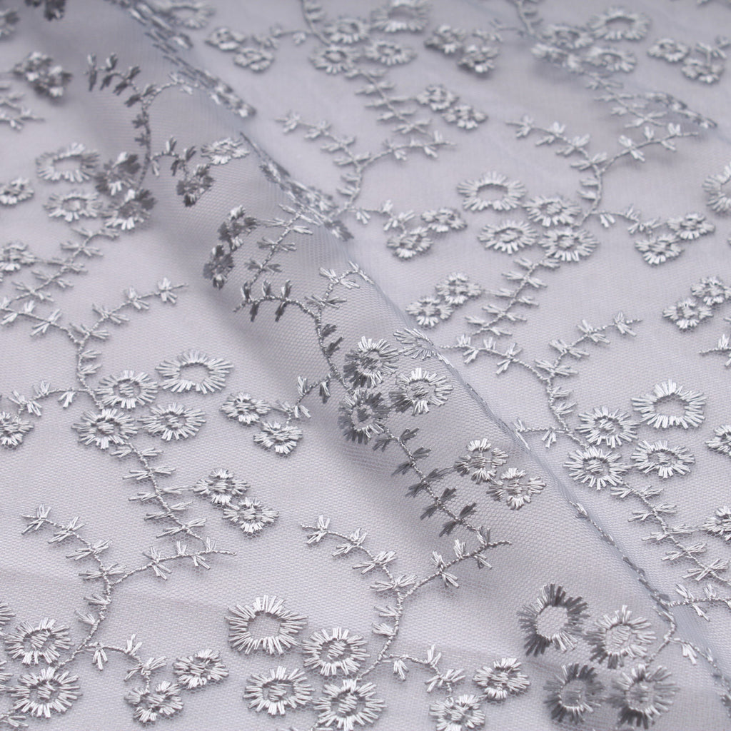 Small Daisy Embroidered Tulle Silver