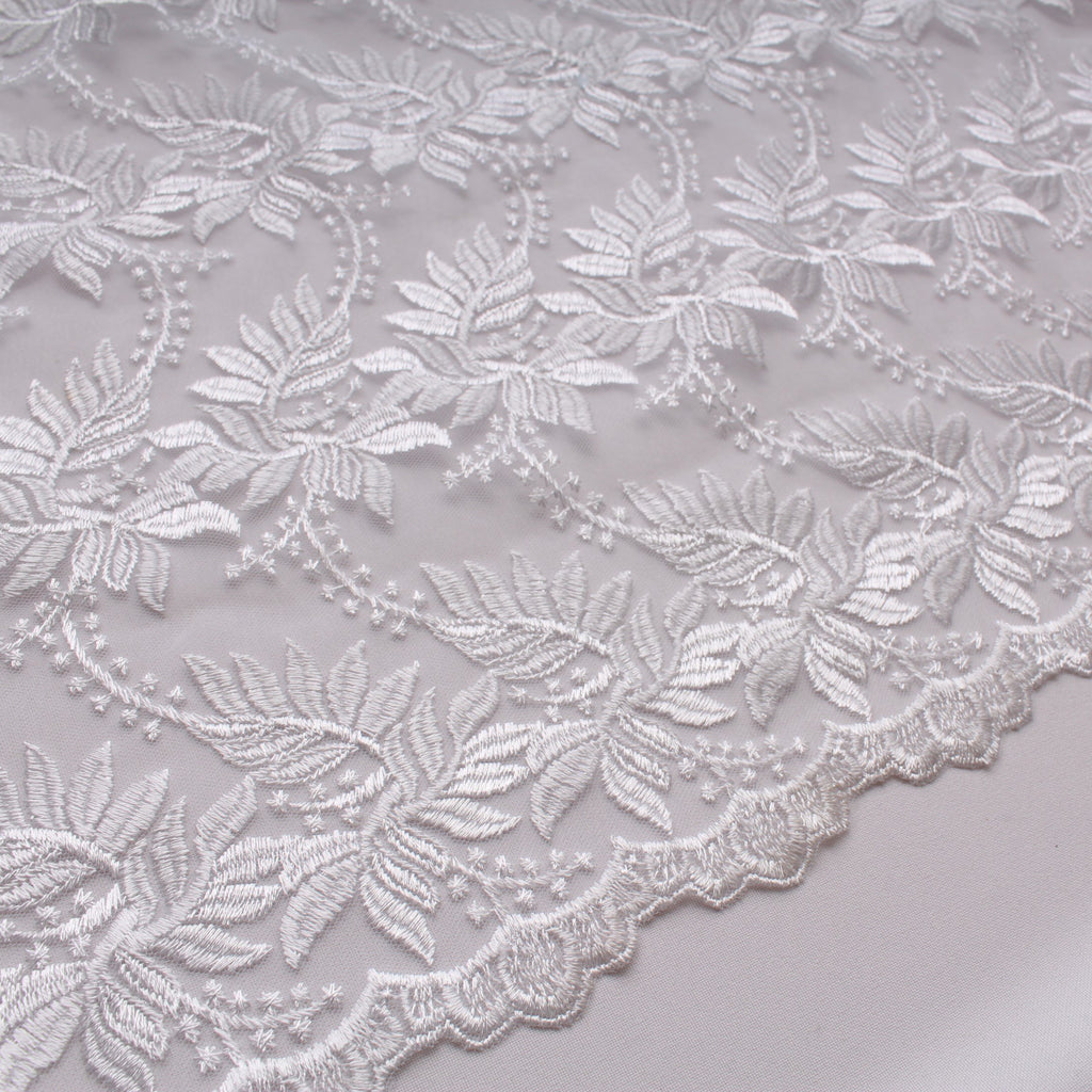 Viscose Embroidered Tulle White