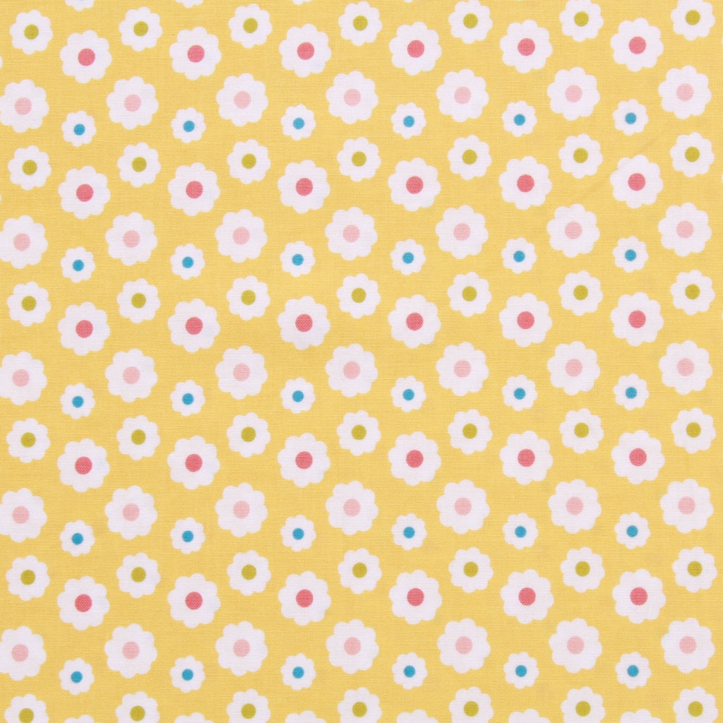 Daisy Quilting Cotton, Teddy Bear Picnic Collection, Yellow