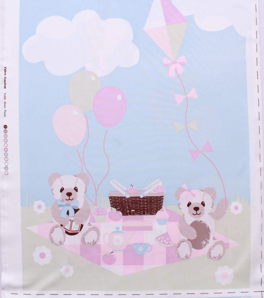 Teddy Bear Picnic Panel Set, 70 x 48cm each, Quilting Cotton