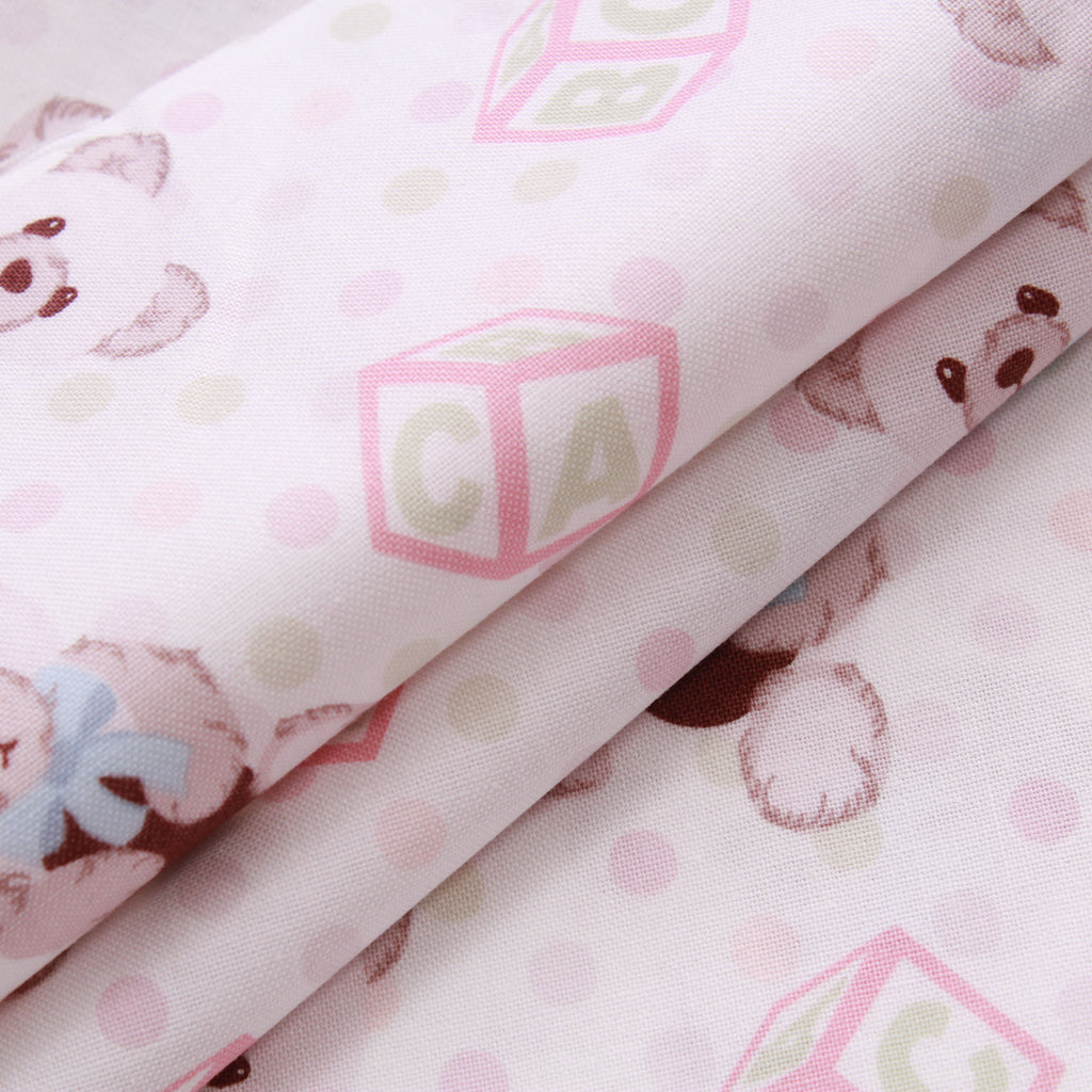 Alphabet Dot Teddies Quilting Cotton, Teddy Bear Picnic Collection