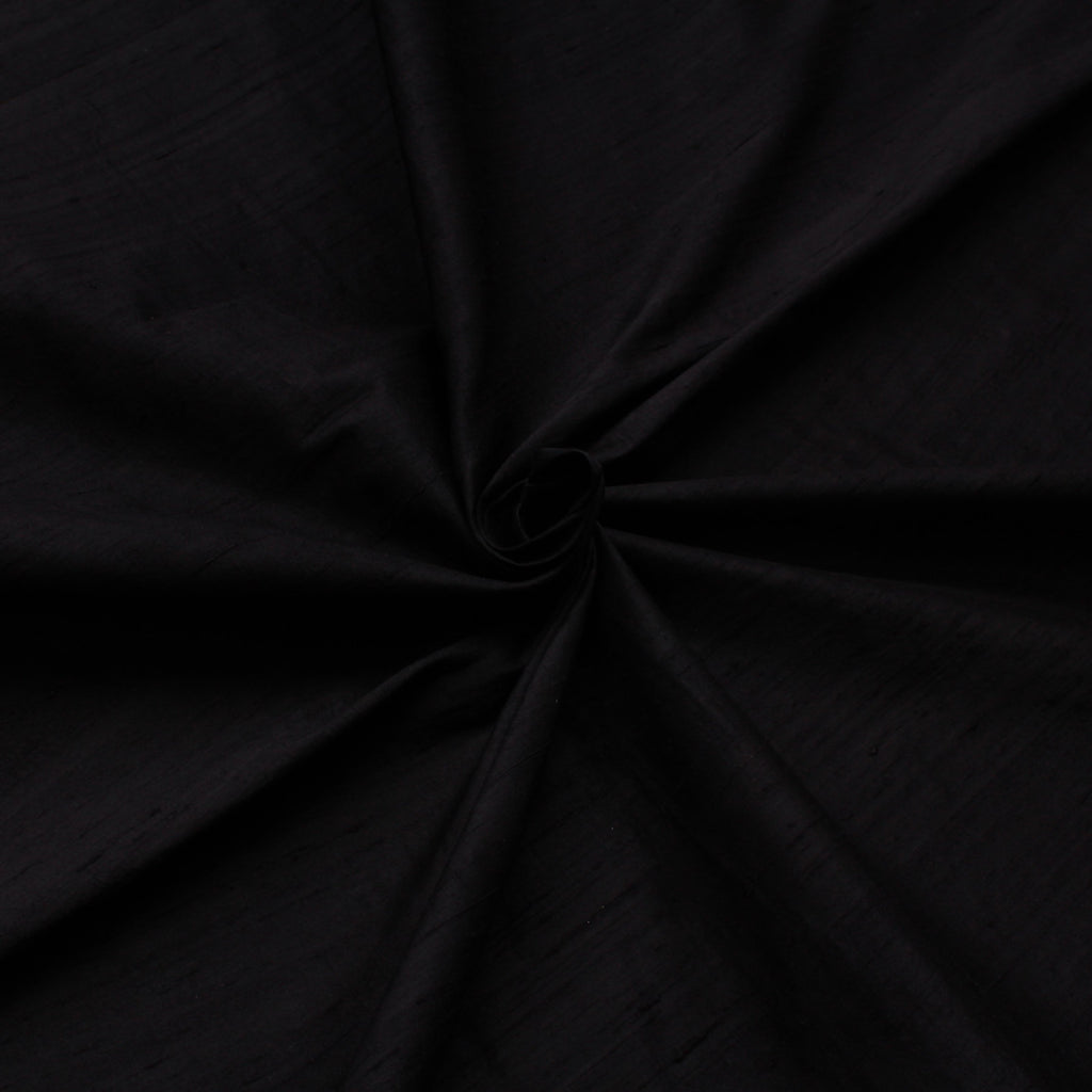Pure Silk Dupion- Hand Loom Premium Quality 150cm Wide- Plain Black