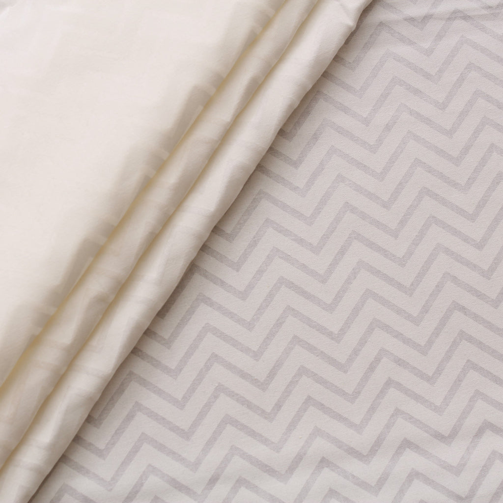 JOANN Poplin, White Chevrons, 100% Cotton