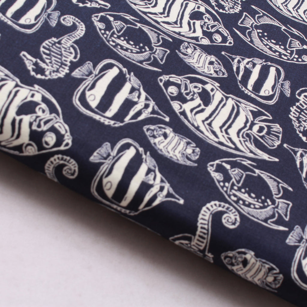 JOANN Glow In The Dark Under The Sea-Navy Cotton Poplin