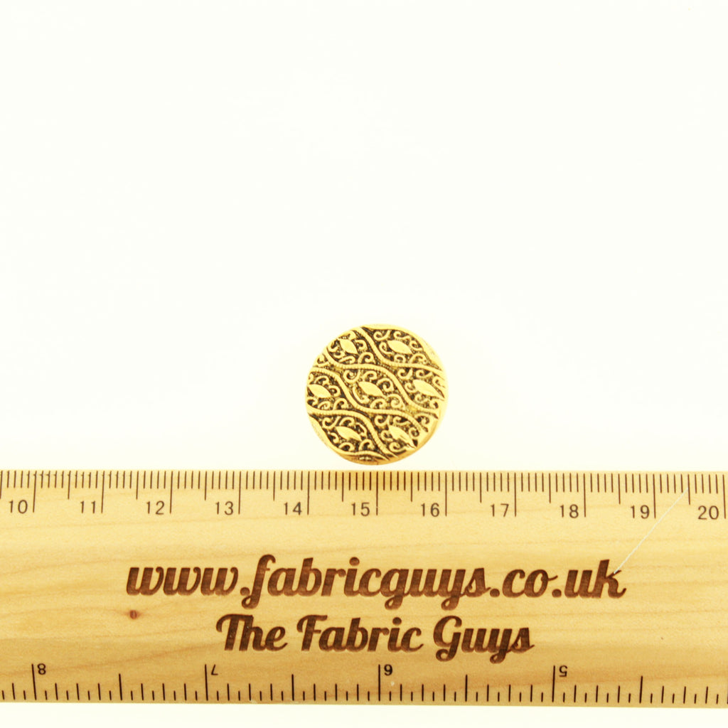 Gold Ethnic Engraved 20mm Plastic Button