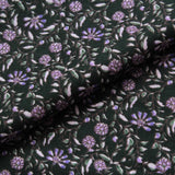 "Bottle Green Vintage Floral Lightweight Brushed Cotton 60"" Wide"