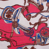 "Royal Carriage, Cream/Cerise 100% Polyester Printed Peachskin, 60GSM, Approx 60"" Wide (150cm)"